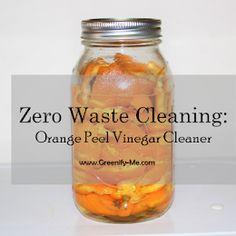 Zero Waste Cleaning: Orange Peel Vinegar Cleaner - Greenify Me Orange Peel Vinegar, Vinegar Cleaner, How To Make Orange, Plastic Spray Bottle, Cleaning Hacks, Cleaning Products, Lemon Essential Oils, Laundry Detergent, Dry Shampoo