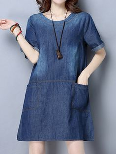 Cheap best Casual Women Blue Short Sleeve Pockets Denim Dress on Newchic, there is always a plus size casual dresse suits you! Plus Size Maternity Dresses, Maternity Dresses Summer, Plus Size Dresses, Demin Dress, Dress Shorts Outfit, Short Outfits, Cool Outfits, Summer Dresses Online, Princess Outfits
