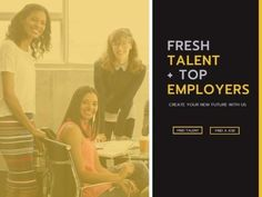 Happy recruitment with this 'fresh talent, top employers' template with an image background of employees.
