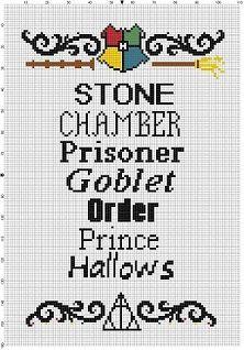 Harry Potter Book List Cross Stitch Pattern - Instant Download by SnarkyArtCompany on Etsy