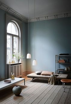 2019 Scandi styled living room with light blue walls and a stunning daybed, and two Dogu pendant lights designed for Lightyears looking all so stylish. Image by Nest. My Living Room, Home And Living, Modern Living, Light And Living, Living Room Decor Blue Walls, Scandi Living Room, Minimalist Living, Small Living, Light Blue Walls