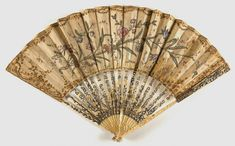 Made in France, Europe Date: Late century. Medium: Painted silk outlined with gilt embroidery and backed with chicken skin; carved ivory sticks trimmed with gold and silver leaf 18th Century Clothing, 18th Century Fashion, 19th Century, Antique Fans, Vintage Fans, Fan Tattoo, Full Back Tattoos, Fan Decoration, Hand Fans
