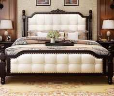 Buy Bed-Beautiful Solid Wood Bed, King Size Double Bed And Other Bedroom Furniture Sets at Nofran Furnitures Cheap Bedroom Sets, Bedroom Furniture Sets, Home Furniture, Modern Leather Sofa, Leather Sofa Set, Sofa Styling, Buy Bed, Wood Beds, White Bedding