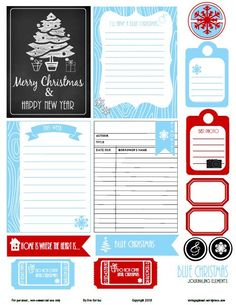 Free Printable Download    Blue Christmas Journaling Elements