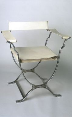 Art Deco Roman Chair - 1933 - by Sir Ambrose Heal (English, 1872-1959) - Chrome-plated metal, with modern leather upholstery - Victoria and Albert Museum Collection, London