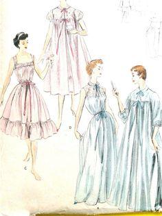 Vintage 1950s Vogue 9356 women s nightgown robe length 344e45435