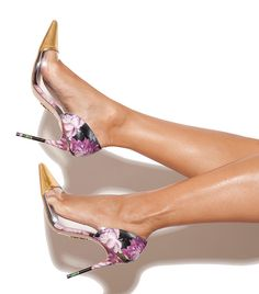 Shoes: 'Roma' Floral Prints with Clear PVC Panel Pointy Pumps