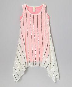 http://www.zulily.com/invite/vhanson979 Loving this Neon Pink Lady Butterfly Sequin Stripe Dress - Girls on #zulily! #zulilyfinds