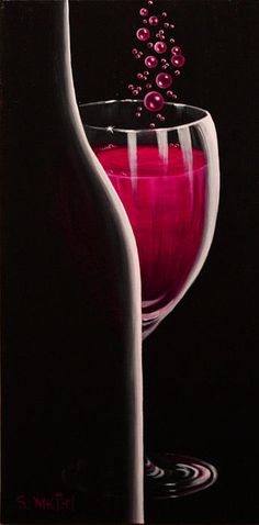 Wine bottle and glass canvas painting