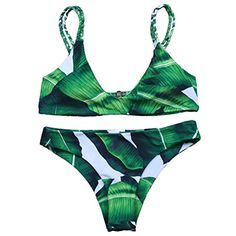 MOOSKINI Womens Padded Two Piece Tankinis Printed Leaf Bikini Set Swimsuit *** Check this awesome product by going to the link at the image. (This is an affiliate link) #Swimwear