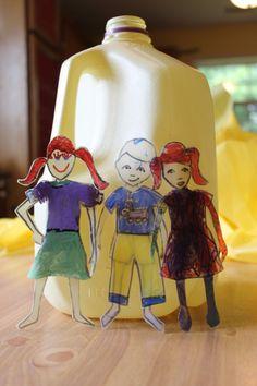 Milk Jug Paper Dolls that will not tear! #diy #MilkJugs