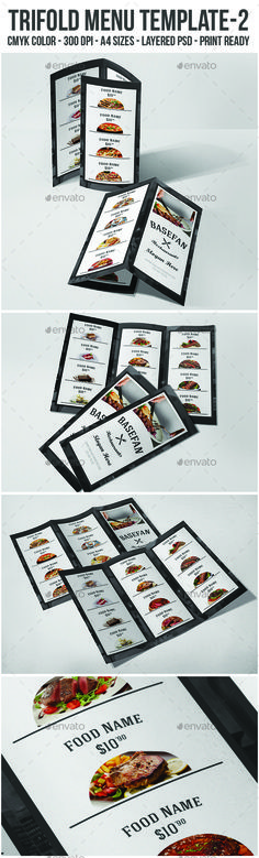 Trifold #Menu Template 2 - #Food Menus Print Templates Download here:  https://graphicriver.net/item/trifold-menu-template-2/19737518?ref=alena994