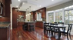 Dark, light, oak, maple, cherry cabinetry and dark wood kitchen cabinet ideas. CHECK THE PICTURE for Various Wood Kitchen Cabinets. Hardwood Floors In Kitchen, Wood Kitchen Cabinets, Kitchen Mantle, Kitchen Island, Kitchen Vinyl, Kitchen Peninsula, Walnut Cabinets, Dark Hardwood, Brown Cabinets