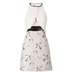 Giambattista Valli floral jacquard skirt halterneck dress