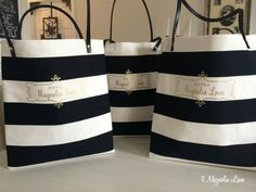 Black and white striped tote bags with Heat Transfer  gold logo/monogram (made with the Silhouette)