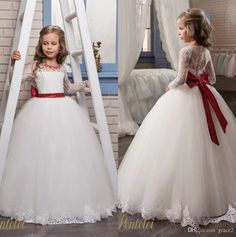 Designer Flower Girls Dresses 2017 Pentelei with Long Sleeves And Big Bow Sash Appliques Tulle Ball Gown First Communion Dress for Girl Flower Girls' Dresses Girls Birthday Dresses First Communion Dresses for Girls Online with $124.58/Piece on Grace2's Store | DHgate.com