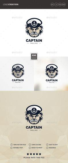 Captain #Logo - #Humans Logo Templates Download here:  https://graphicriver.net/item/captain-logo/20399608?ref=alena994