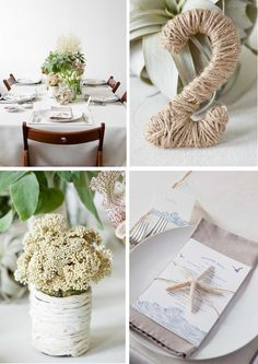 Modern beach inspired wedding - table numbers and menus