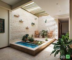 Image 1 of 32 from gallery of Haghighi Residential Building / Boozhgan Architecture Studio + AAD Studio. Photograph by Hamed Farhangi Mini Pool, Porches, Deco Restaurant, Patio Interior, Interior Design, Brick Facade, Lobby Design, Architectural Section, Courtyard House