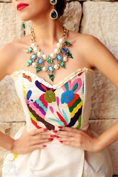 Beautiful Mexican Corset and Skirt by MimosasAtelier on Etsy