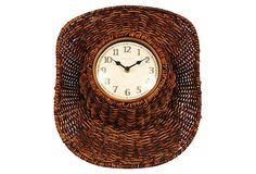 Faux Rattan In/Outdoor Cowboy Hat Clock