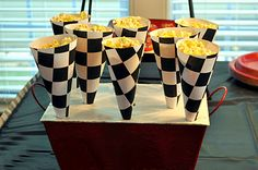 "Checkered Flag DIY Cones are a perfect pair with Luc & Lilah Events ""Start Your Engines!"" Printable Invitation!"