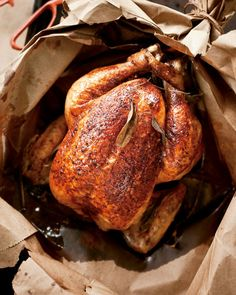 "Roasting a chicken in a paper bag keeps it moist and tender, and it couldn't be easier with this recipe from ""Sara Foster's Southern Kitchen."""