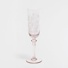 PINK CHAMPAGNE FLUTE WITH A WHITE PATTERN - Stemmed Glasses - Glassware - Tableware | Zara Home United States of America