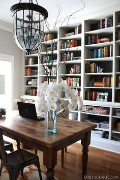 Emily A Clark --- man oh man I love everything about this dining room turned office #Largediningroomtable