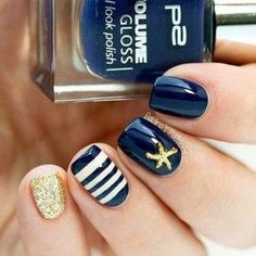 43 Fabulous Summer Nail Colors Ideas to try  #colors #fabulous #ideas #summer Manicure Nail Designs, Manicure Y Pedicure, Cute Nail Designs, Diy Nails, Manicure Ideas, Nails Design, Nautical Nail Designs, Beachy Nail Designs, Pedicures