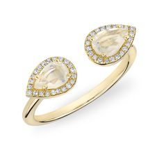 Anne Sisteron  14KT Yellow Gold Moonstone Diamond Throne Ring ($720) ❤ liked on Polyvore featuring jewelry, rings, gold, diamond jewelry, gold jewellery, moonstone ring, gold diamond rings and diamond rings