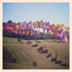 #Festival flags at #Glastonbury #England in the sunshine | Jimmy Choo via Instagram