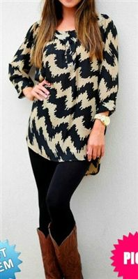 chevron zig zag tunic long enough to wear with leggings! Pair with cowboy boots