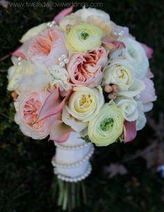 Vintage Bridal Bouquet with Pearl accents.  www.twistedwillowweddings.com