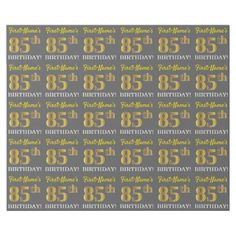 """Gray Imitation Gold Look """"85th BIRTHDAY"""" Wrapping Paper - party gifts gift ideas diy customize"""