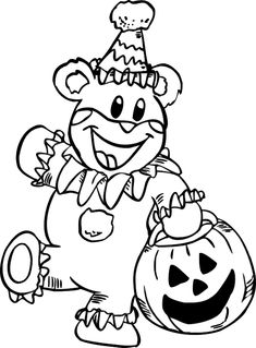 A Kid In Teddy Bear Costume Is Fabulous Free Halloween Coloring Picture For All Children Who Love
