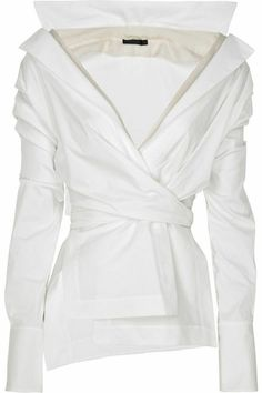 White Top with Unique Detail from Donna Karan on February 2011 @ Donna  Karan white stretch cotton-blend long-sleeve wrap-around shirt