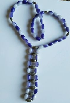 New-MOAKSHA-Fashion-Jewelry-Blue-and-White-Beads-Silver-Tone-Necklace