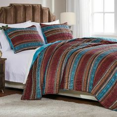 Quilt Bedspread Coverlet Set Southwestern Lodge Brown Teal Red Orange Reversible Bedding with Shams Full Queen Size. Full/Queen Size quilt set for double and queen size bed set includes 1 quilt and 2 pillow shams. Rustic Bedroom Decor, Lodge, Coverlet Set, Bed, Orange Bedding, Extra Bedroom, Bedroom Decor, Bedding Stores, Bed Cover Sets