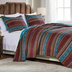Quilt Bedspread Coverlet Set Southwestern Cabin Brown Teal Orange Bedding Twin #GreenlandHome #Southwestern