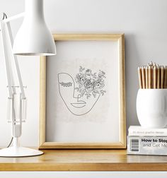 Woman Face Line Art Print Flower Eye Printable Wall Art Minimal Print Woman& Face Line Face Line Drawing, Face Lines, Alphabet Print, International Paper Sizes, Large Wall Art, Woman Face, Printable Wall Art, Flower Prints, Line Art