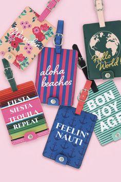 DM Merchandising's Sage & Emily: Getaway Girl Luggage Tag Girls Luggage, Sage, Christmas Ornaments, Holiday Decor, Fun, Gifts, Travel, Presents, Viajes