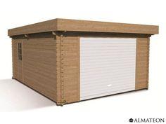 Garage Kena en bois de sapin avec toit plat pour 1 voiture, 21.73 m², épaisseur 34 mm.
