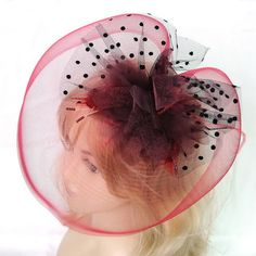 large claret red feather hair clip top hat flower by Mamahanky, $13.99