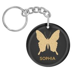 Stylish Gold Glitter Butterfly Add Your Name Keychain - template gifts custom diy customize