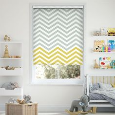 Nothing says funky like this Vector Border design from Scion Living. It's a two-colour chevron print that will most certainly help your home to feel vibrant and modern. Scion is a contemporary brand and this roller blind has a contemporary feel perfect for the modern home. The colours are as stylish and modern as they come, a combination of mustard yellow and mid grey with white accents. Fabric Blinds, Curtains, Vector Border, Blinds Design, Roller Blinds, Border Design, Contemporary, Modern, Print Design