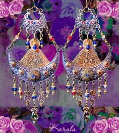 Large Medieval Silver and Brass Chandelier Earrings, Exotic Earrings, Knights in Armor, Ancient Roman- MTO