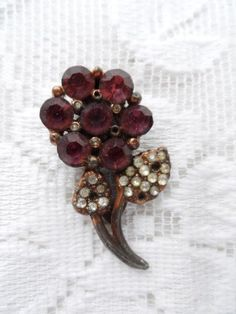 Available now from Orphaned Treasures OLD Shoe Clasp with Purple Stones Flower Design $8.67 via Etsy