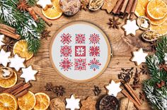 Snowflakes and arrows - modern cross stitch pattern - nordic ornament merry christmas design