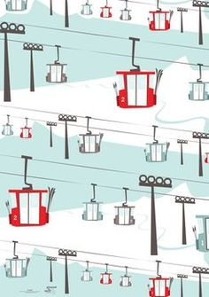 ski lift alpine christmas wrapping paper by little baby company | notonthehighstreet.com